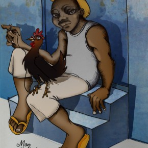 Rooster man in Trinidad