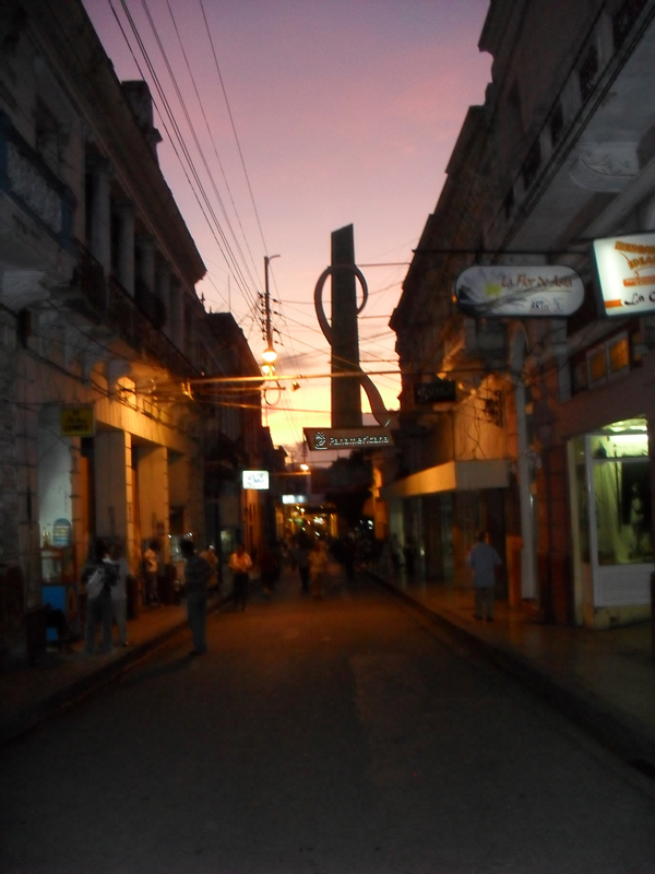 Sunset in the streets of Santiago de Cuba