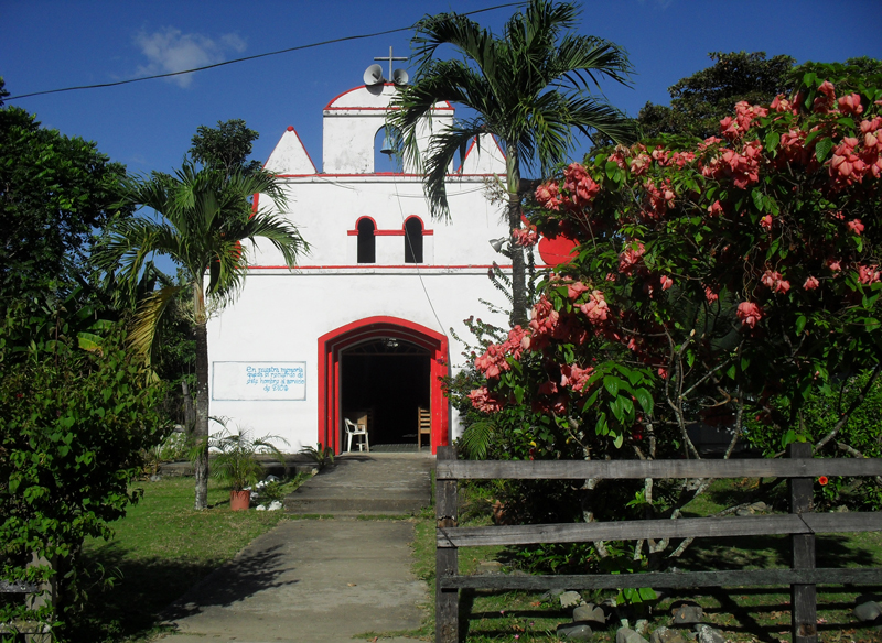 Red and white church